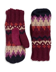 Isotoner Chevron Knit Sherpa Lined Mittens Wild Rose