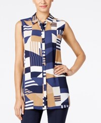 Alfani Geo Print Blouse Only At Macy's Patchwork Camel Navy