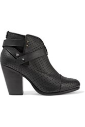 Rag And Bone Harrow Perforated Leather Ankle Boots Black