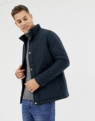 Pier One Quilted Jacket In Navy With Funnel Neck And Cord Detailing Dark Blue