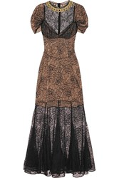 Alessandra Rich Camelia Chantilly Lace Gown Black
