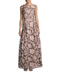 Karl Lagerfeld Floral Print Lace Tulle Gown Black Pink