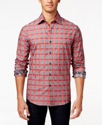 Tasso Elba Men's Grid Print Long Sleeve Shirt Only At Macy's Red Combo