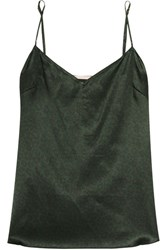 Stella Mccartney Ellie Leaping Leopard Print Stretch Silk Camisole Dark Green