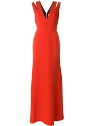Victoria Beckham Long Cut Out Shoulder Dress Red