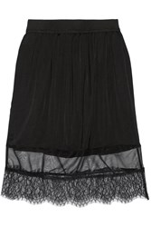 Clu Satin Chiffon And Lace Skirt Black