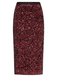 Rebecca Taylor High Rise Sequinned Pencil Skirt Burgundy