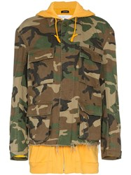 R 13 R13 Camouflage Hooded Cotton Jacket Brown