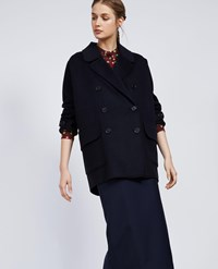 Aspesi Wool And Cashmere Double Parka Navy Blue
