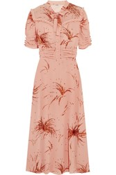 Miu Miu Ruffled Metallic Embroidered Georgette Midi Dress Blush