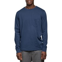 Universal Works Navy Long Sleeve Pocket T Shirt Blue