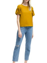 French Connection Puff Sleeve Top Calluna Yellow