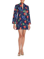 Romeo And Juliet Couture Floral Print Silk Dress Multicolor