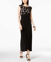 Connected Soutache Lace Draped Faux Wrap Gown Black