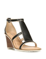 Dr. Scholl's Jacobs Black Leather Wedge Sandals