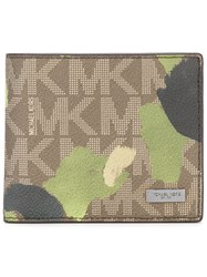 Michael Kors Camouflage Logo Wallet Men Leather One Size Green