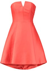Halston Heritage Strapless Cotton And Silk Blend Dress Coral