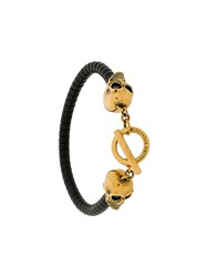 Alexander Mcqueen Skull Detail Bracelet Leather Brass Black