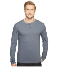Agave Cliff Long Sleeve Henley Slub Stripe Ombre Blue Men's Long Sleeve Pullover Navy