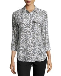 Equipment Slim Signature Long Sleeve Shirt Cheetah