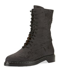 The Row Fara Distressed Lace Up Boot Gray