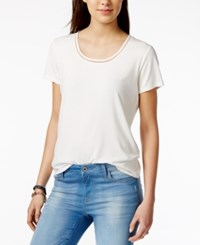 Tommy Hilfiger Crochet Trim T Shirt Only At Macy's Ivory