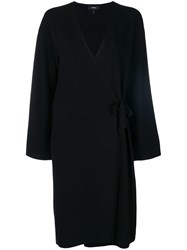 Theory Wrap Long Cardigan Black