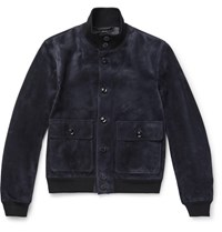 Tom Ford Slim Fit Suede Bomber Jacket Midnight Blue