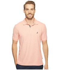 Nautica Short Sleeve Solid Deck Shirt Coral Heather Men's Short Sleeve Knit Orange