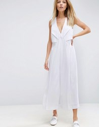 Asos Jumpsuit With Origami Detail And Culotte Leg White