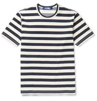 Junya Watanabe Striped Cotton Blend Ponte De Roma T Shirt Navy