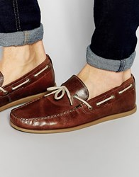 Red Tape Driving Loafers In Tan Leather Tan