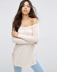 Asos Off Shoulder Slouchy Top With Side Splits Nude Shell Pink
