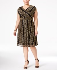 Ny Collection Plus Size Printed A Line Dress Gold