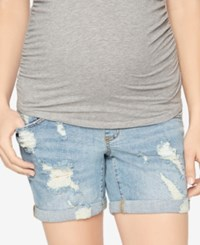 A Pea In The Pod Cuffed Distressed Denim Maternity Shorts Indigo Denim