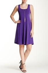 24 7 Comfort Solid Sleeveless Flared Dress Plus Size Available Purple