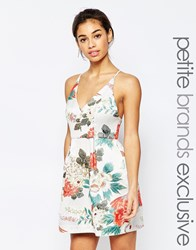 True Decadence Petite Tropical Brocade Cami Prom Dress Multi