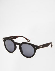 Asos Round Sunglasses In Matte With Tort Black