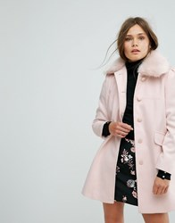 Miss Selfridge Faux Fur Collar Pea Coat Blush Multi