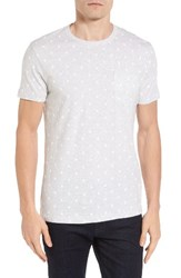 French Connection Men's Polka Dot T Shirt Silver Melange Whte