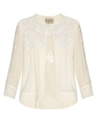 Sea Embroidered Lace Long Sleeved Blouse Cream