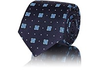 Sartorio Embroidered Silk Necktie Navy