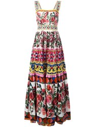 Dolce And Gabbana Mambo Print Maxi Dress Rose
