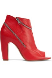 Maison Martin Margiela Zip Embellished Leather Ankle Boots Red