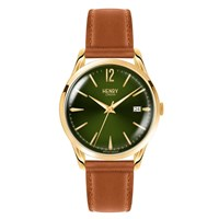 Henry London Unisex 39Mm Chiswick Tan Leather Moss Green Watch Gold Green Brown