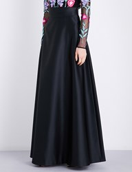 Temperley London Waterlily Satin Maxi Skirt Black