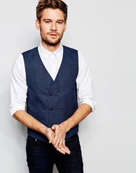 Selected Homme Double Breasted Waistcoat In Skinny Fit Navy Blue