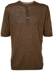Eleventy Buttoned Neck T Shirt Brown