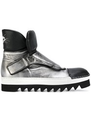 Rocco P. Metallic Grey Monk Strap Boots Leather Rubber
