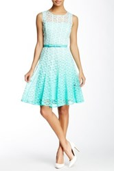Chetta B Lace Overlay Fit And Flare Dress Multi